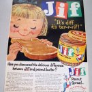 1960 Jif Peanut Butter Spread Color Art Print Ad