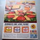 1961 Bordens Fine Sliced Cheeses Color Print Ad