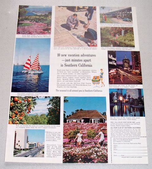 1961 All-Year Club Southern California Vacation Color Print Ad