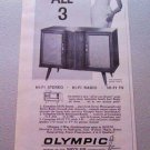 1960 Olympic The Auberry Model KD219 Stereo Phonograph Radio Print Ad