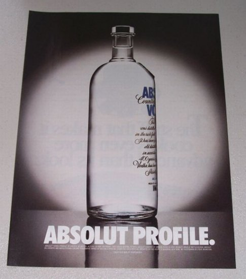 1998 Absolut Vodka Color Print Ad - Absolut Profile