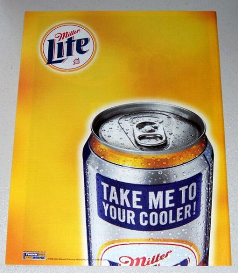 1998 Miller Lite Beer Color Print Ad - Take Me To Your Cooler