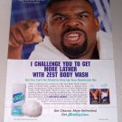 1998 Zest Body Wash Color Print Ad Celebrity NFL Running Back Craig Heyward
