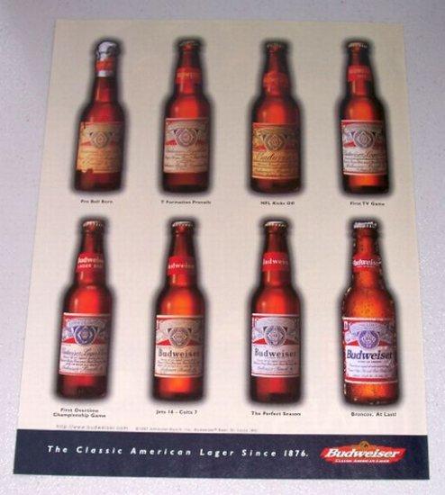 1997 Budweiser Beer Bud Bottles Color Print Ad