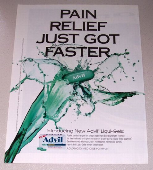 1998 Advil Liqui-Gels Pain Reliever Color Print Ad