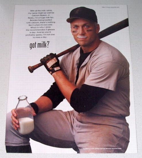1998 GOT MILK Color Print Ad Celebrity Orioles Baseball Cal Ripkin