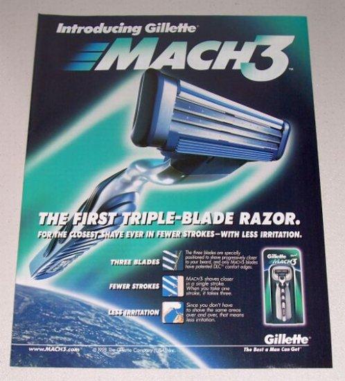 1998 Gillette Mach 3 Triple Blade Razor Color Print Shaving Ad