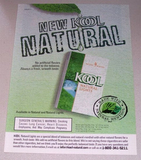1998 KOOL Natural Lights Cigarettes Color Print Ad