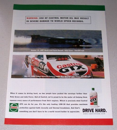 1998 Castrol GTX Motor Oil Color Print Ad NHRA Drag Racing