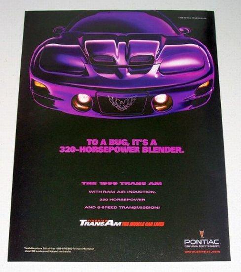1998 Pontiac Firebird Trans Am Automobile Color Print Car Ad
