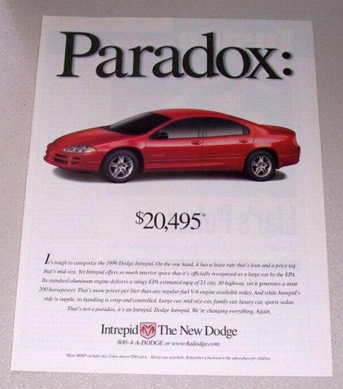 1999 Dodge Intrepid Automobile Color Print Car Ad