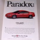 1999 Dodge Intrepid Automobile Color Print Car Ad