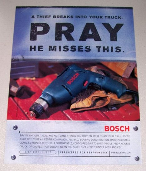 1998 Bosch Tools Power Drill Color Print Ad