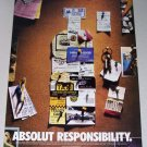 1998 Absolut Vodka Color Print Ad - Absolut Responsibility