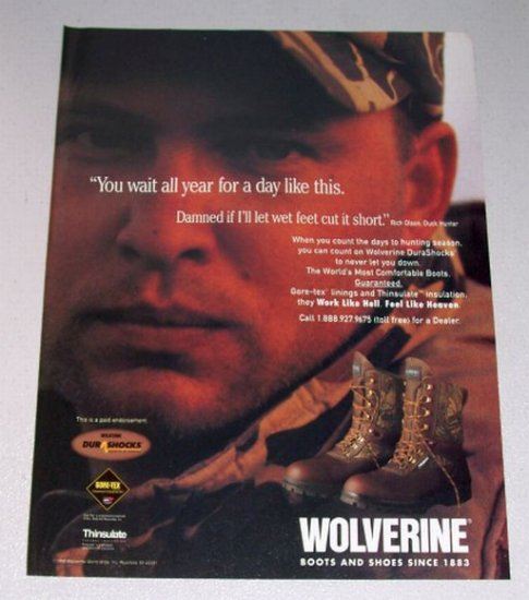 1998 Wolverine DuraShocks Boots Shoes Color Print Ad Duck Hunter Rich Wilson