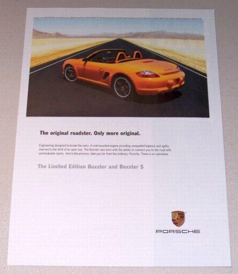 2007 PORSCHE Boxster S Automobile Color Print Car Ad
