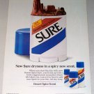1987 Sure Desert Spice Scent Deodorant Color Print Ad