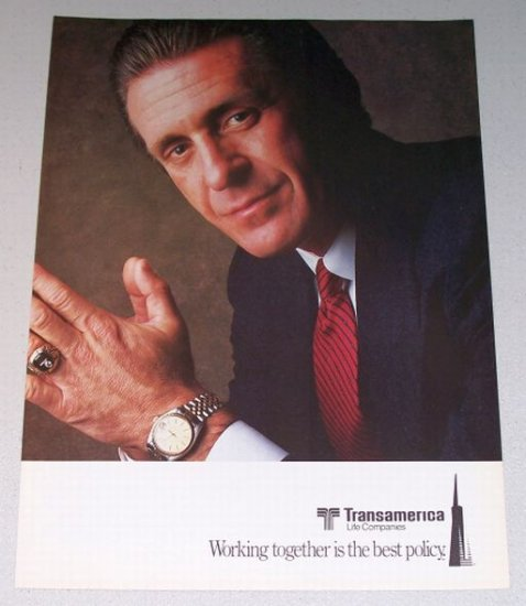 1987 Transamerica Life Companies 2 Page Color Print Ad Celebrity NBA Coach Pat Riley