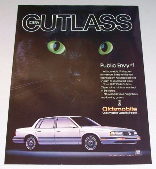 1987 Oldsmobile Olds Cutlass Ciera Automobile Black Cat Color Print Car Ad