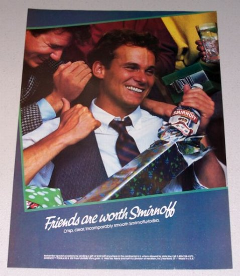 1987 Smirnoff Vodka Color Christmas Print Liquor Ad