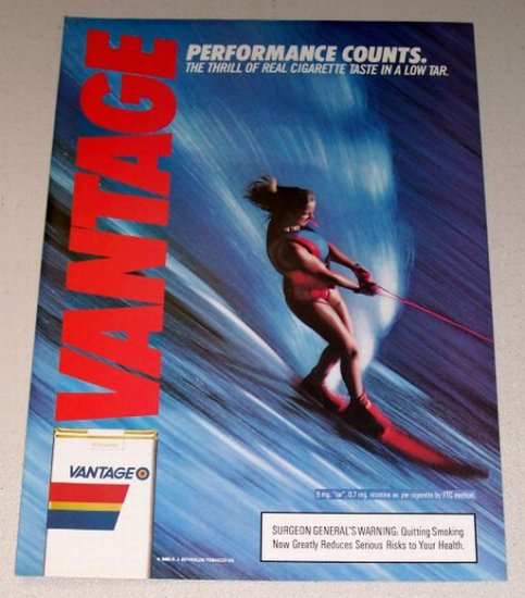 1987 Vantage Cigarettes Water Skiing Color Print Tobacco Ad
