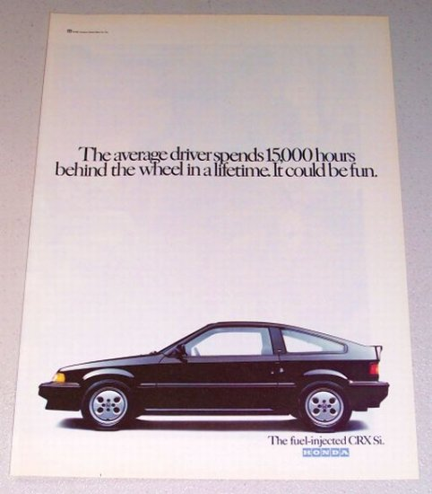 1987 Honda CRX Si Automobile Color Print Car Ad