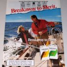 1987 Merit Cigarettes Sailing Boating Color Print Tobacco Ad