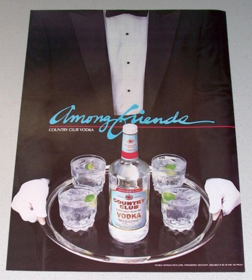 1987 Country Club Vodka Color Print Liquor Ad