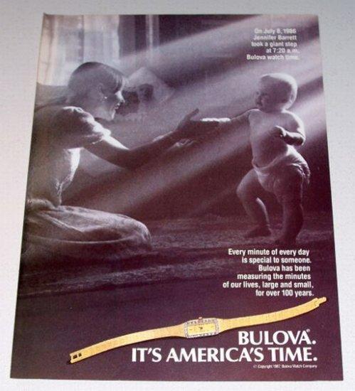 1987 Bulova Ladies Watch Baby Jennifer Barrett Print Ad
