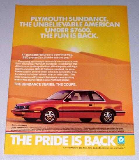 1987 Plymouth Sundance Series Coupe Automobile Color Print Car Ad