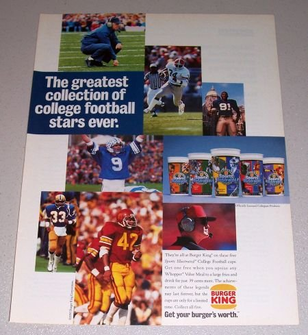 1995 Burger King Restaurant Football Color Print Ad