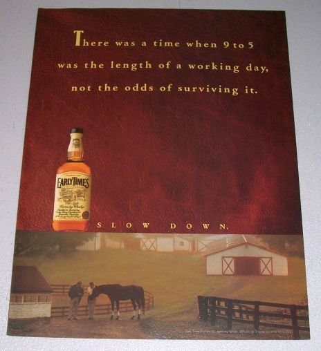 1995 Early Times Kentucky Whisky Horse Farm Color Print Ad