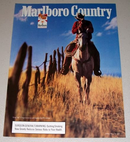 1995 Marlboro Cigarettes Horse Riding Western Scene Color Print Ad