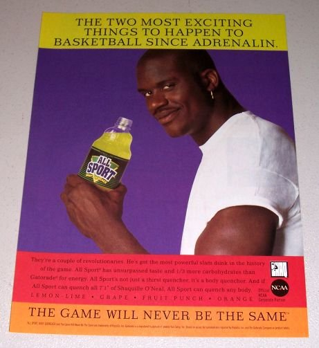 1995 All Sport Body Quencher Color Print Ad NBA Basketball Celebrity Shaquille O'Neal