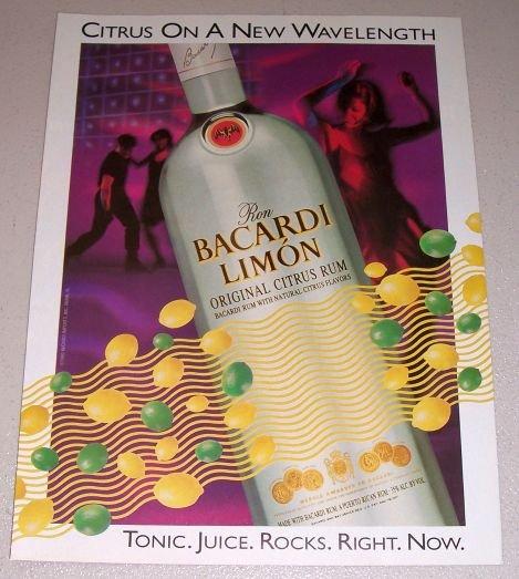 1995 Ron Bacardi Limon Citrus Rum Color Print Art Ad