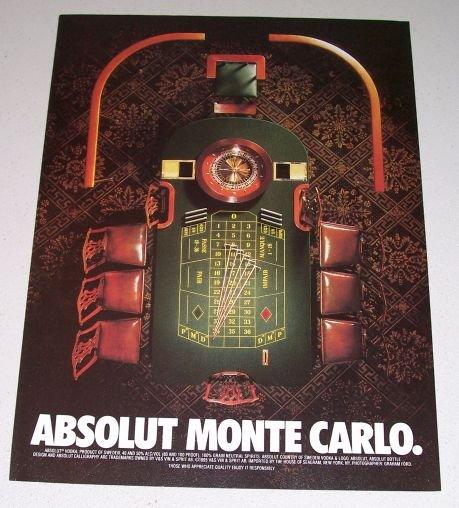1995 Absolut Vodka Roulette Table Color Print Liquor Ad - Absolut Monte Carlo