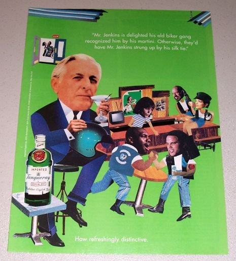 1995 Imported Tanqueray Dry Gin Biker Gang Color Print Art Ad