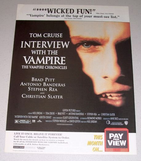 1995 Color Print PPV Movie Ad Interview with the Vampire Celebrity Tom Cruise