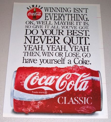 1995 Coca Cola Coke Soda Color Print Beverage Ad - Winning isn't Everything