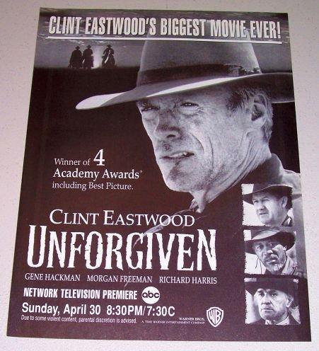1995 Movie Print Ad UNFORGIVEN Celebrity Clint Eastwood