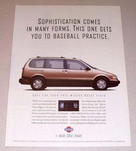 1995 Nissan Quest Passenger Van Color Print Ad