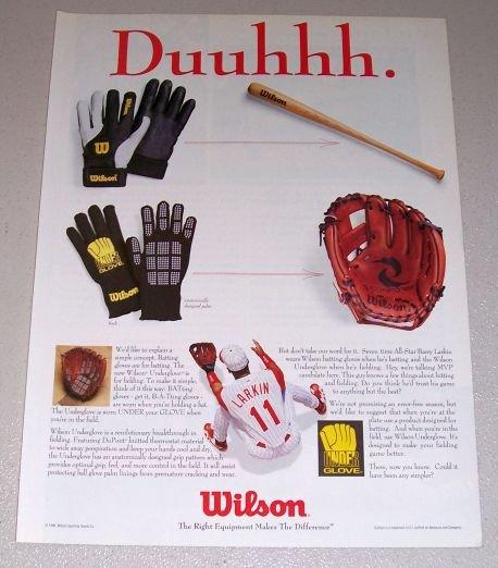 1995 Wilson Underglove Batting Gloves Color Print Ad MLB Reds Baseball Celebrity Barry Larkin
