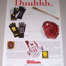1995 Wilson Underglove Batting Gloves Color Print Ad MLB Reds Baseball Celebrity Barry Larkin