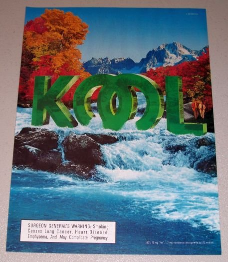 1995 Kool Cigarettes Waterfall Fall Scene Color Print Tobacco Ad
