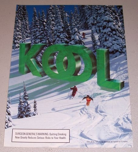 1995 Kool Cigarettes Winter Mountain Snow Skiing Scene Color Print Tobacco Ad