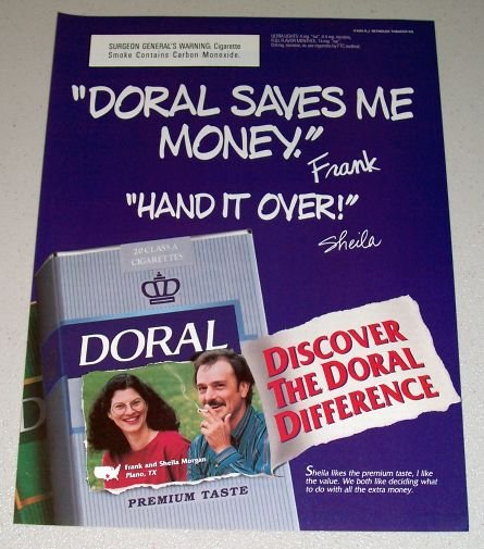 1995 Doral Cigarettes Color Print Tobacco Ad Frank Sheila Morgan Plano Texas