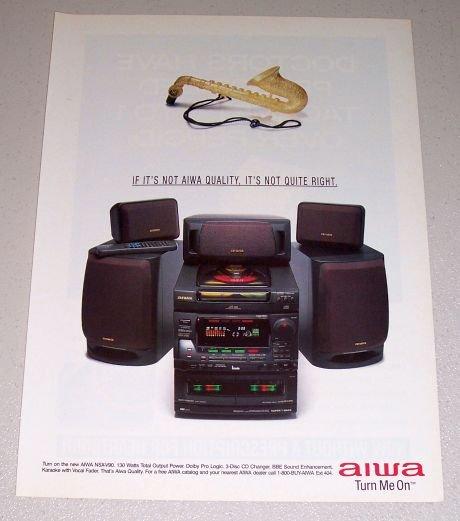 1995 AIWA NSX-V90 Home Audio Mini System Color Print Ad