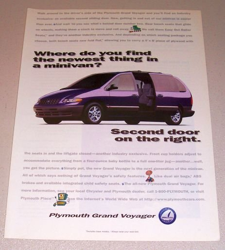 1995 Plymouth Grand Voyager Passenger Mini Van Color Print Ad