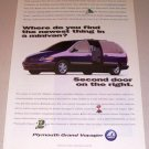 1995 Plymouth Grand Voyager Passenger Mini Van Color Print Ad