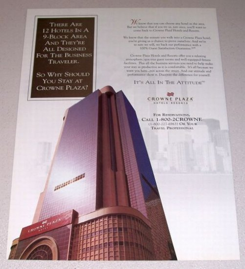 1995 Crowne Plaza Hotels Resorts Color Print Ad